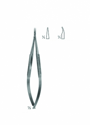 Micro Needle Holder With Round Handles and Bayonet - Shaped